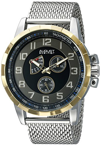 August Steiner Men's Two Hand Retrodrade Quartz Watch with Round Black Dial Analogue Display and Silver Stainless Steel Bracelet AS8202SSB