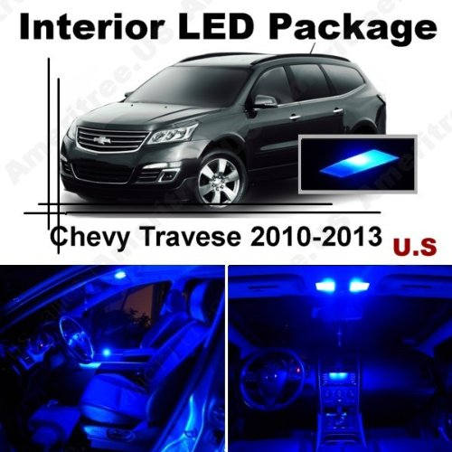 Ameritree Blue Led Lights Interior Package + Blue Led License Plate Kit For Chevy Travese 2010-2013 (10 Pieces)