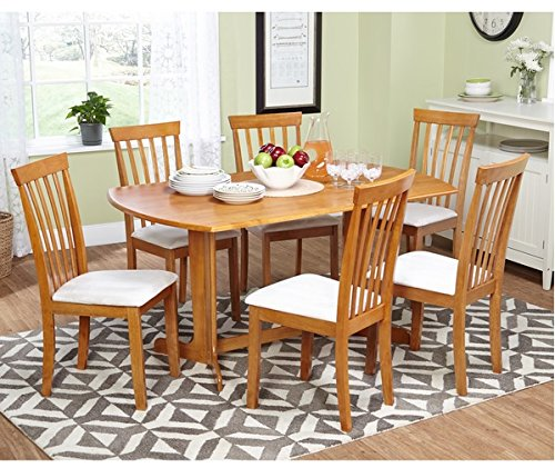 Counter Height Dining Set 7 Piece Solid Hardwood with Beautiful Oak Finish and Fabric Chairs