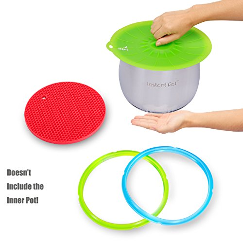 Instant Pot Sealing Ring , Pressure Cooker Accessories ,Three Parts - Silicone Sealing Ring , Suction Lid , Pot Holder, Friendly with Friendly With Cookbook,Lid,Pot and Steamer