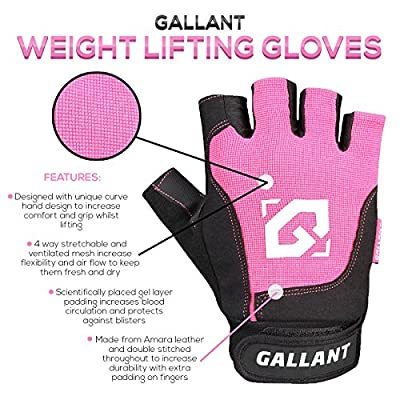 Gallant Ladies Gym Weight Lifting Gloves Gel Pink Womens Body Building Fitness Exercise by Gallant Sports