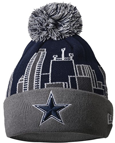Dallas Cowboys Knit Hat Pattern : Slimio  Dallas Cowboys 3D Building Warm Thick Cuffed Knit Pom Beanie - Patter...
