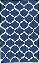 Blue Rug Modern Chic Design 3-Foot x 5-Foot Cotton Flat-Woven Trellis Dhurry