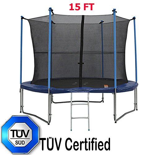 3rd-Anniversary-Sale-Zupapa-TUV-Approved-15FT-Trampoline-with-Ladder-Pole-and-Enclosure-net-Safety-Pad-Jumping-Mat-Rain-Cover-Spring-Pull-T-hook-All-in-one-Combo-Set