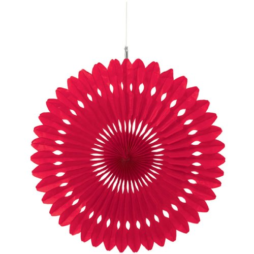 Hanging Fan Decoration (Solid) Party Accessory Red