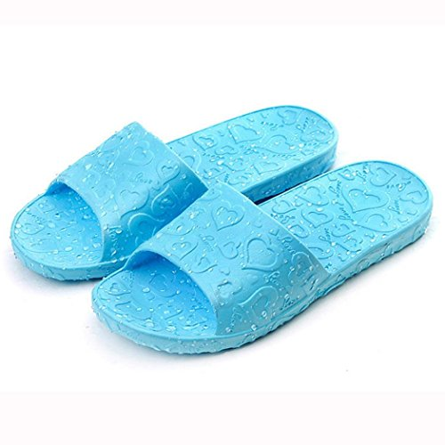 Tenworld Anti-Slip Flat Bath Slippers Slide-on Women's Shower Poolside Sandal (6, Blue) (Display Cases With Curve Glass compare prices)
