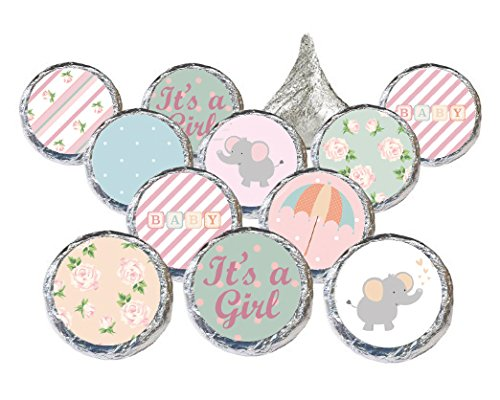 Shabby Chic Baby Girl Shower Stickers for Hershey's Kisses Favors, Decorations, Thank You Cards, and Invitations (Set of 324 - CANDY NOT INCLUDED) (Baby Shower Personalized Stickers compare prices)