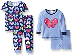 Gerber Toddler Girls Four-Piece Cotton Pajama Set, Butterfly, 4T
