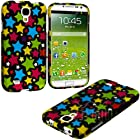 myLife Colorful Star Overload Series (2 Piece Snap On) Hardshell Plates Case for the Samsung Galaxy S4 Fits Models: I9500, I9505, SPH-L720, Galaxy S IV, SGH-I337, SCH-I545, SGH-M919, SCH-R970 and Galaxy S4 LTE-A Touch Phone (Clip Fitted Front and Back Solid Cover Case + Rubberized Tough Armor Skin)