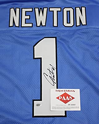 Cam Newton Carolina Panthers Signed Autographed Blue #1 Jersey PAAS COA