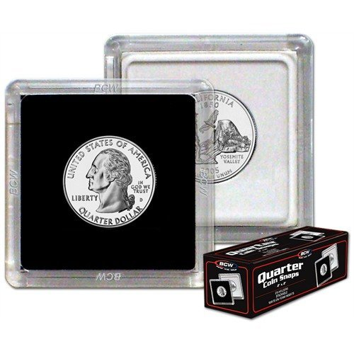 NEW BCW 2X2 COIN SNAP - QUARTER - BLACK - PACK OF TEN - 1