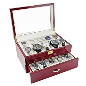 Rosewood Finish Watch Case Display Storage Box Chest With Glass Clear Viewing Top Holds 20 Watches