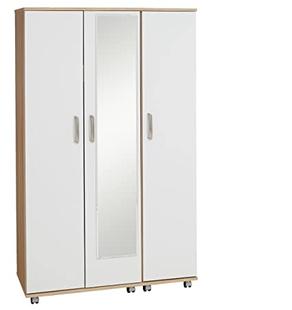 Treat Your Home Rebello 3 Door Plus Mirror Wardrobe, Wood, Sonoma Oak Carcuss/White Gloss Fronts