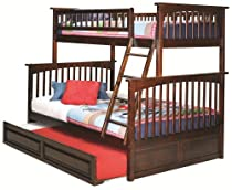 Hot Sale Columbia Bunk with Trundle Antique Walnut/Twin/Full