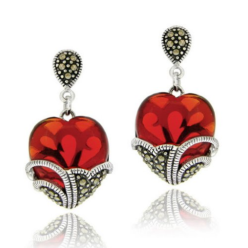 Sterling Silver Marcasite & Garnet Colored Glass Heart Earrings