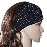 Sparkling Rhinestone and Dots Wide Elastic Cotton Headband - Various Colors