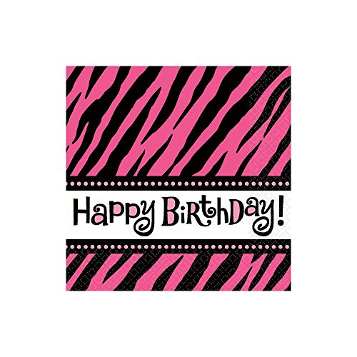 "Amscan Oh So Fabulous Zebra Birthday Celebration Beverage Napkins, 5"" x 5"", Pink/Black/White"