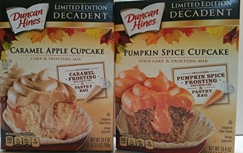 [Duncan Hines Bundle..Limited Edition Pumpkin Spice and Caramel Apple Decadent Cupcake and Frosting Mix (2 19.4 oz] (Halloween Cupcakes Frosting Recipe)