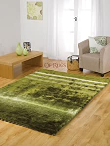 "Very Large Soft Silky Deluxe Shaggy Green Rug in 160 x 230 cm (5'3"" x 7'7"") Carpet"