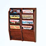 Wooden Mallet 8-Pocket Cascade Magazine Rack, Mahogany
