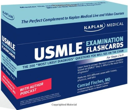 "Kaplan Medical Usmle Examination Flashcards: The 200 """"Most Likely Diagnosis"""" Questions You Will See On The Exam For Steps 2 & 3"