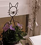 SparkWorks Cat Plant Stand (Bronze)- THE MOST POPULAR Cat Plant Stand; Weather-resistant Powder Coat Finish; Includes 3 Eco-friendly Plant Fiber Flowerpots