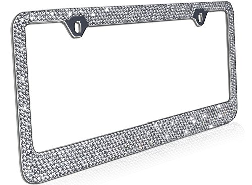 OxGord Rhinestone License Plate Frame Metal Chrome Diamond Bling Glitter Custom 12 Rows of Diamonds, 1pc (License Plate Frames Rhinestones compare prices)