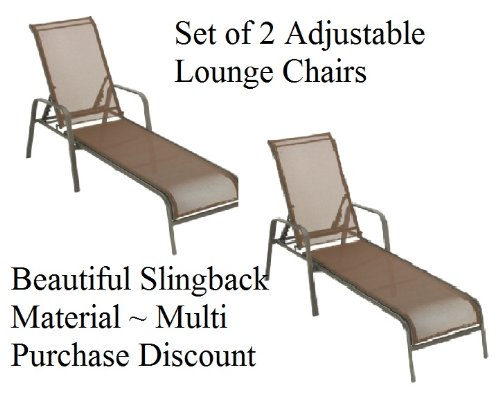 2 NEW CHAISE LOUNGE LOUNGERS CHAIRS OUTDOOR POOL SLINGBACK ADJUSTABLE