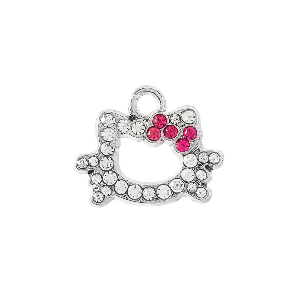 12X DIY Jewelry Making Hello Kitty Rhinestone Outlined Charm   Fuchsia