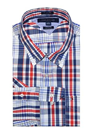 Tommy Hilfiger Men Custom Fit Checkered Shirt (XL, Navy/Red/White)