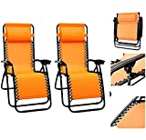 1 Pair Orange Color Recliner Lounge Chair Fully Reclined-63 Inches Long