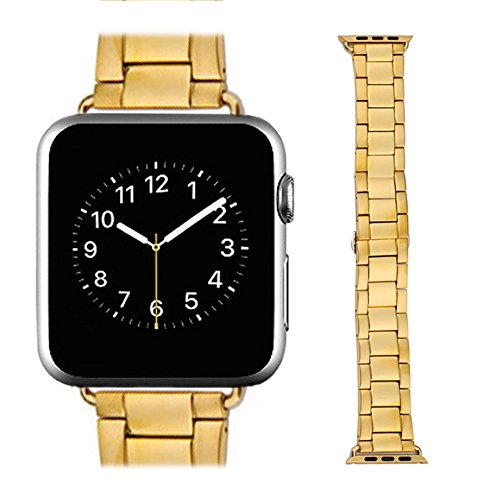 Teslasz Replacement Stainless Steel Bracelet Metal Band Strap Chain For Apple Watch iWatch (42MM Gold)