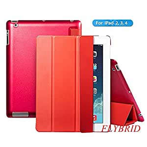 Ultra Thin Magnetic Smart Cover & Clear Back Case For Apple iPad 2 iPad 3 iPad 4,FlyBrid Vibrant Trendy Color Style Slim-Fit Folio Magnetic Smart Cover case with Clear back and Auto Sleep/Wake Feature for iPad 2 iPad 3 iPad 4 (Red)
