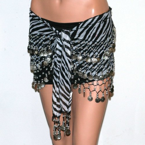 Belly Dance Dancing Animal Print Hip Scarf - Black Zebra Skirt Belt Silver Coins