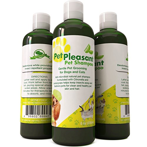 Natural Pet Shampoo for Dogs Puppies & Cat - Anti Itch Flea & Tick Repellent with Lemongrass & Citronella - Tear Free Odor Eliminator By Honeydew (8oz)