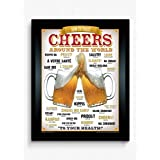 BCreative Cheers Around The World Beer (Officially Licensed) Framed Poster Small 13 X 17 Inches