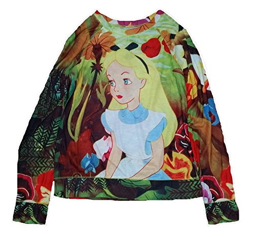Disney Alice in Wonderland 2-Sided Licensed Graphic Long Sleeve T-Shirt