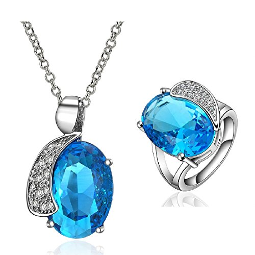 Elegant Women D¨¦Cor Xmas Gift Cool Natural White Gold Plated Irregular Beauty Colorful Crystal Necklace & Ring Size 8 2-In-1
