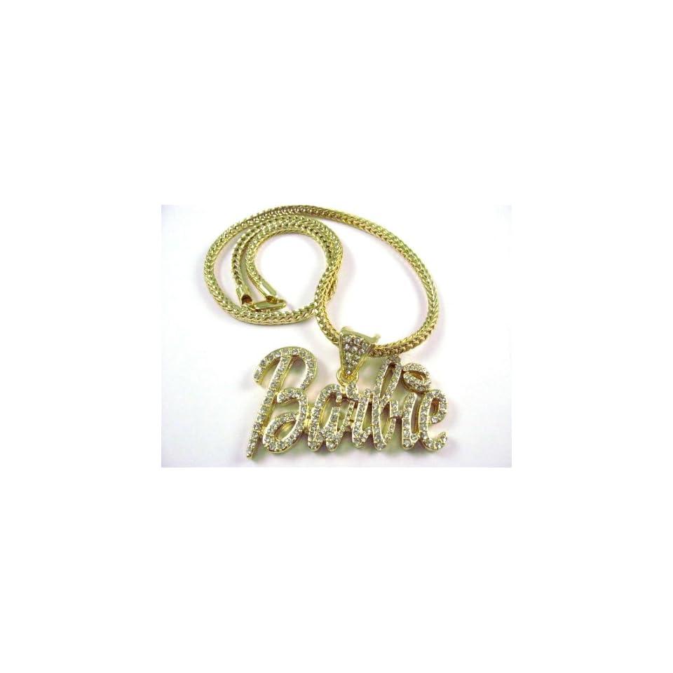 NEW NICKI MINAJ BARBIE Pendant w/Franco Chain Gold Small, Clear
