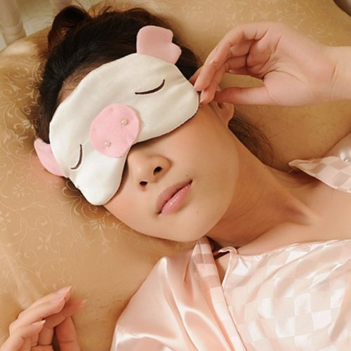E-Tribe New Cute Pig Design Pure Silk Soft Smooth Filled Eye Sleeping Mask Cover Easy Carry For Travel