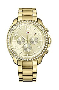 Tommy Hilfiger Serena Women's Quartz Watch with Gold Dial Analogue Display and Gold Stainless Steel Gold Plated Bracelet 1781465