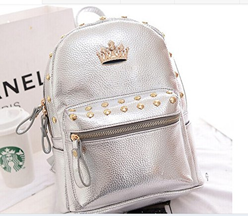 New Jelly Candy Bling Leather Women's Everyday Backpack Messager Purse Backpack Mochhila Silver