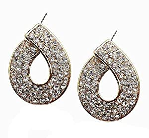 Xiang Rui Jewelry Women's Tear Drop Crystal And Gold Tone Earrings