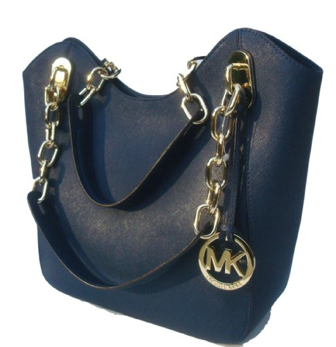 Michael Kors Lilly Md Tote Navy Saffiano Leather