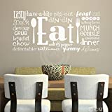 Eat (Phrases) wall saying vinyl lettering art decal quote sticker home decal (White, 16x35)