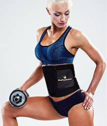 Neopromedical - Waist Trimmer Belt - Weight Loss Wrap - Stomach Fat Burner - Low Back and Lumbar Support with Sauna Suit Effect - Best Abdominal Trainer