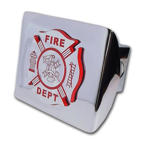 Fire Department Firefighter Insignia Bright Polished Chrome Plated Maltese Cross Emblem Metal Trailer Hitch Cover Fits 2 Inch Auto Car Truck Receiver