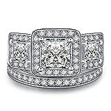 Zealmer Rhodium Plated Princess Cut Past Present Future Engagement Rings CZ Cubic Zirconia Set 8