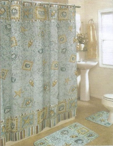BLUE GREEN SEASHELL FABRIC SHOWER CURTAIN, FABRIC COVERED RINGS, AREA RUG & CONTOUR RUG SET