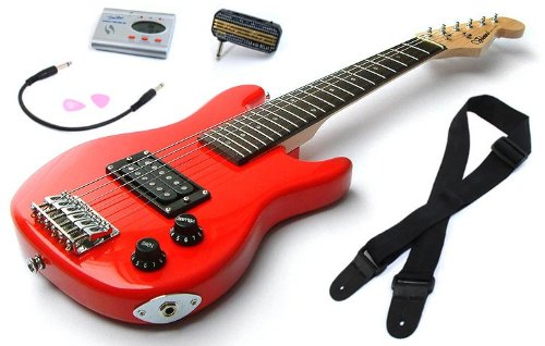 Red Childrens Guitar Package: 1/2 size Childs Electric Guitar for Kids Beginners aged 5-9, Headphone Amp, Tuner, Patch Lead, Plectrums and Guitars Strap